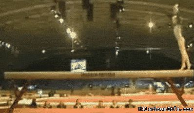 Gymnastics Fails gif | Gymnast missing balance beam