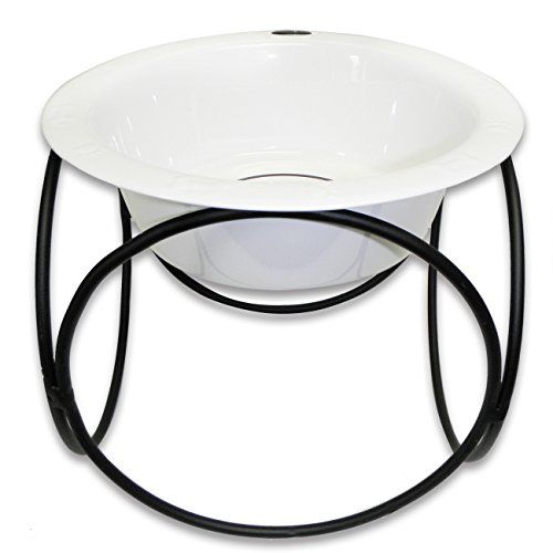 Platinum Pets Single Olympic Diner Feeder with Stainless Steel Dog Bowl 6 oz White *** Check out this great product.