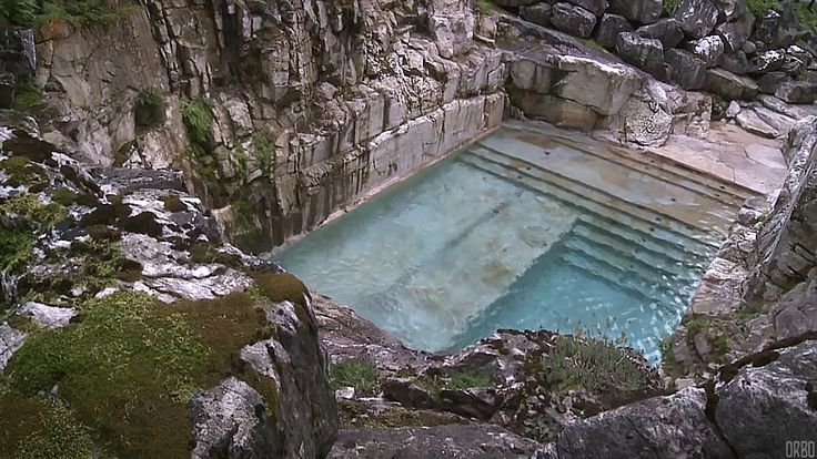 Quarry turned into a luxury swimming pool in Sheffield, Massachusetts.