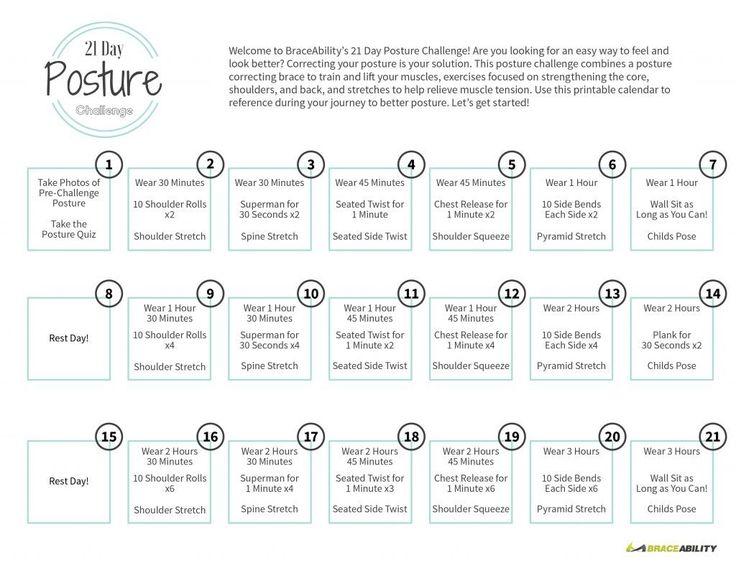 Printable Calendar for the 21 Day Posture Challenge