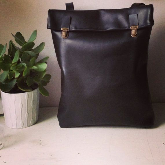Minimalist Leather Backpack / Leather Rucksack / Messenger / Laptop/ Tote/ Women/ For Her/ For Him/ Black/ Minimalist