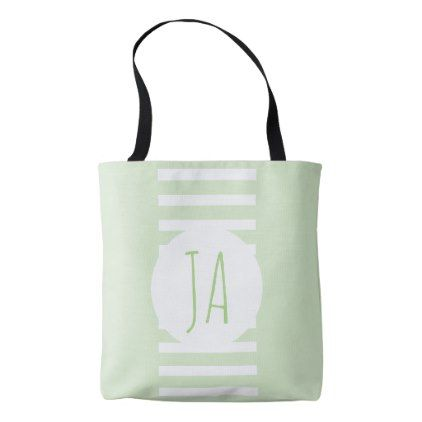 Cool Classy Green Stripe Monogram Initials Tote Bag - cool gift idea unique present special diy