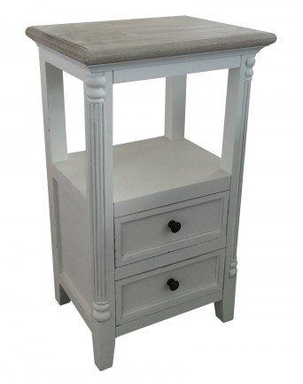 Sängbord med 2 lådor 40x31x68 cm (rek.pris 1400 kr) / Vita möbler naturtop / Shabby Chic