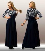 2016 női divat maxi hosszú ruha 3/4 ujjú alkalmi elegáns patchwork nyomtatott tavaszi ruhák molett