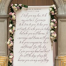 Modern Fairy Tale Personalized Backdrop Gracious fonts with old world elegance give this an exquisite look that is luxurious with a hint of modern flair. Display at your ceremony, welcome area, sweet bar, drink station or anywhere else throughout your decor that could use a little love.