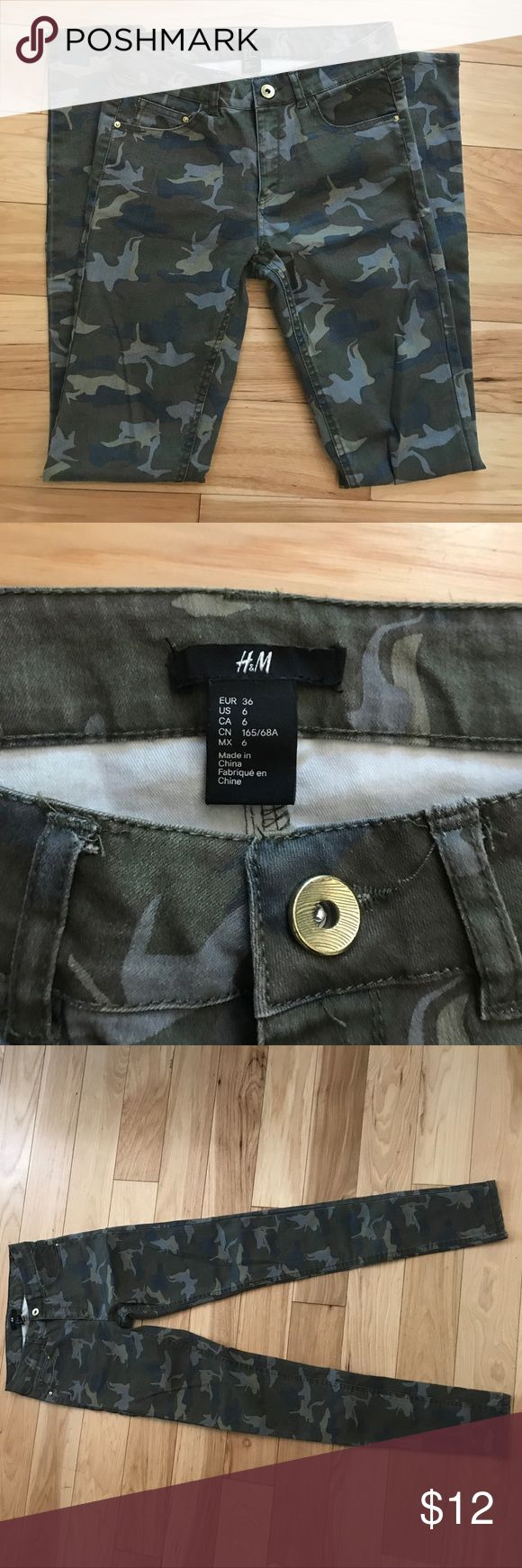 Camo skinny jeans Camo H&M skinny jeans, size 6, perfect condition only worn once!!! H&M Pants Skinny