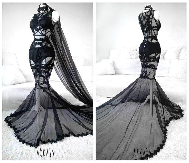 Wedding askasu goth black gown harness lace for Leather wedding dresses black