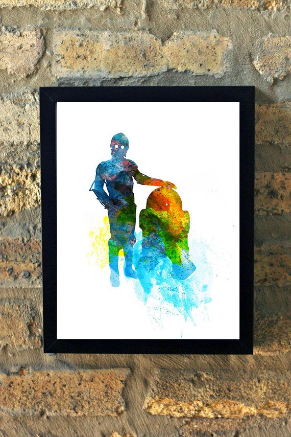 Star Wars R2D2 & C320 Watercolor Print Black and by TheGnakedGnome
