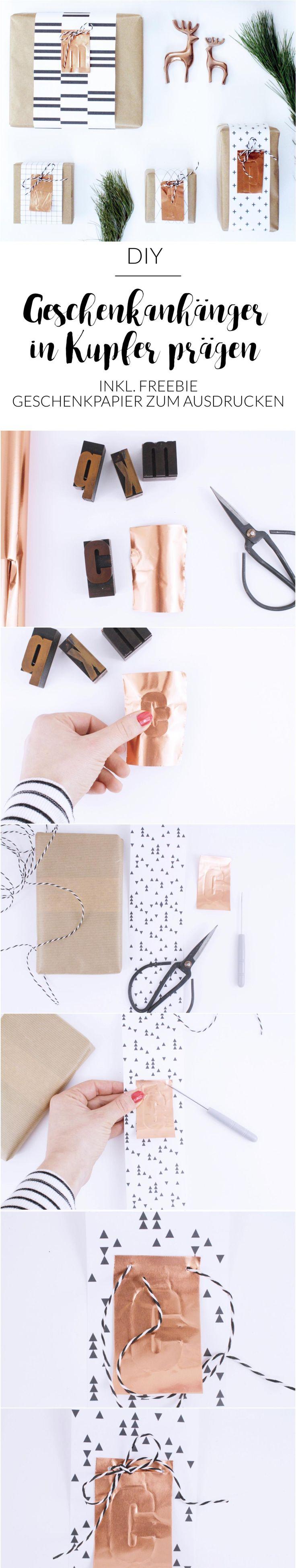 DIY | Geschenkanhänger | Kupfer | Weihnachten | Geschenk verpacken | Idee Geschenke einpacken | Verpackungsideen | schwarz | weiß | prägen | Initialen | Printables | Freebie | Geschenkpapier | minimalistisch | grafisches Muster