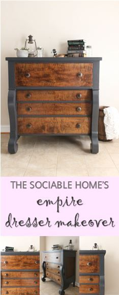 Most empire dressers date back to the late 1800s to early 1900s. They tend to have a large frame and are solid wood, which makes for a very heavy and big piece of furniture. On an antique such as this, most people want to keep some of the wood grain when refinishing it. Take a look at thesociablehome.com to see how you can combine paint and stain to refurbish your own empire dresser.
