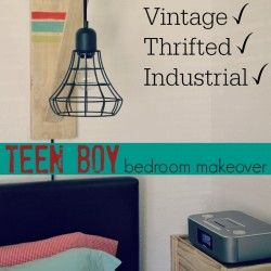 Eclectic Teen Boy Bedroom Makeover - Diy Vintage Thrifted Rustic Industrial 1