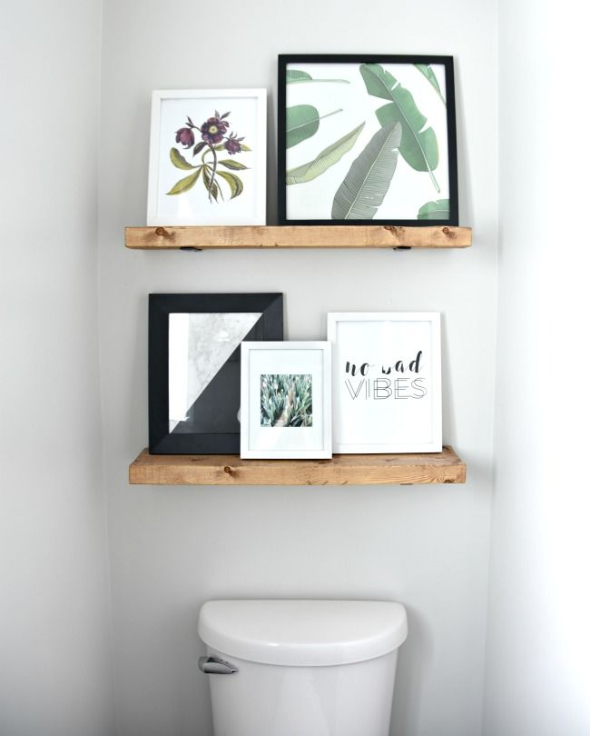 """The easiest tutorial for DIY floating shelves. These reclaimed wood shelves are faux floating shelves your bathroom, but we went a 2×6 piece of pine from The Home Depot. Stain: I used Minwax's """"special walnut"""" stain. You only need a small amount, so a 1/2 pint is plenty! Wood Conditioner: Corner Braces: 4 or 5 inch metal corner braces – Everbilt Zinc plated ones, Stanley hardware ones in a darker finish,"""