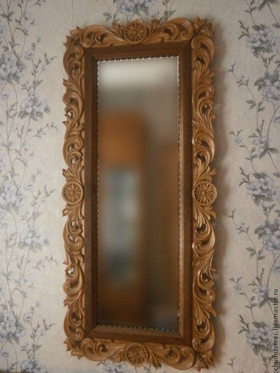 Купить Резное деревянное зеркало из ореха. - коричневый, зеркало ручной работы, зеркало в деревянной раме