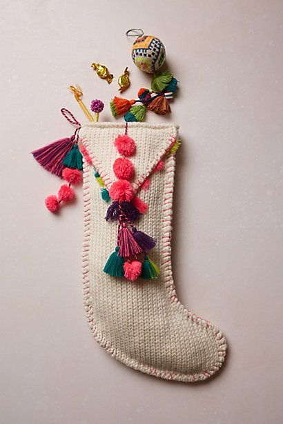 Cute pompom Tassel Stocking #anthropologie