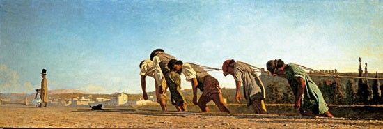 """Telemaco Signorini (1835 - 1901), L'Alzaia, 1864.  L'alzaia, è sicuramente uno dei dipinti più conosciuti di Telemaco Signorini. Rappresenta dei braccianti durante il loro lavoro, impegnati a trascinare con delle corde una chiatta, lungo l'argine dell'Arno (chiamato """"alzaia""""). I braccianti sono mostrati con le gambe affondate fino ai polpacci nel terreno."""