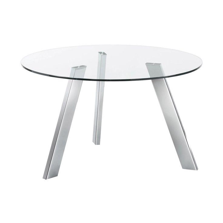 #Mesa #redonda con pies de #acero #cromado. Sobre en #cristal #templado.