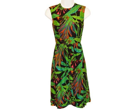 Bohemian Chic Tropical Silk Dress, Marshall Field, 1960s - Sundress - Vintage - Mad Men - Resort