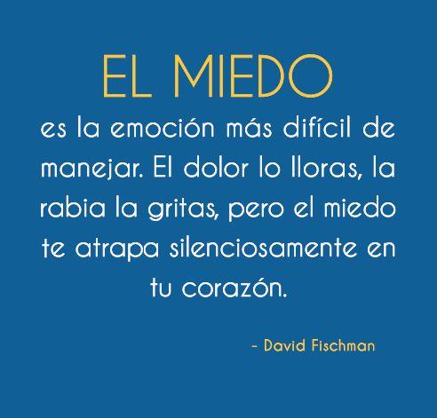 EL MIEDO es la emoción más difícil de manejar. El dolor lo lloras, la rabia la gritas, pero el miedo te atrapa silenciosamente en tu corazón.