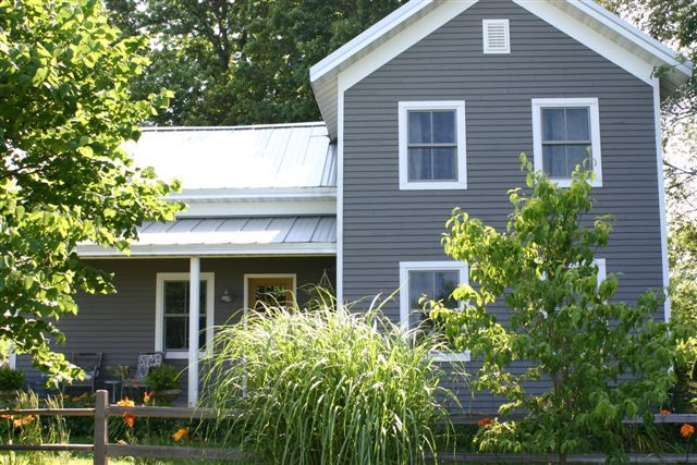 Grey house white trim galvalume roof exterior - White house with grey trim ...
