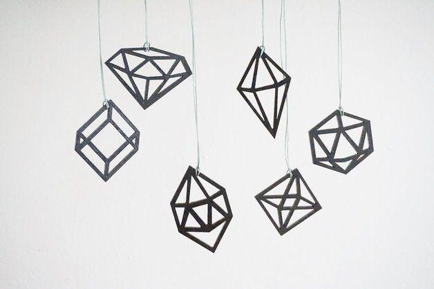 Ornaments – Set van zes diamanten hangers - hout – a unique product by Sticktails on DaWanda