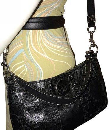 ea7ee1c7a985 Coach F15141 Paten Stitched Shoulder Black Leather Cross Body Bag - Tradesy