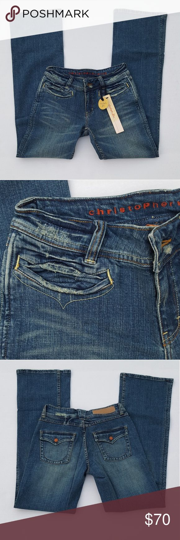 Christopher Blue Chris Lloyd's Daughter jeans NWT bootcut Christopher Blue jeans in size 2. These jeans retail for 150 dollars and are an up and coming popular brand! Hand crafted and dyed. I can get measurements just ask! Christopher Blue Jeans Boot Cut