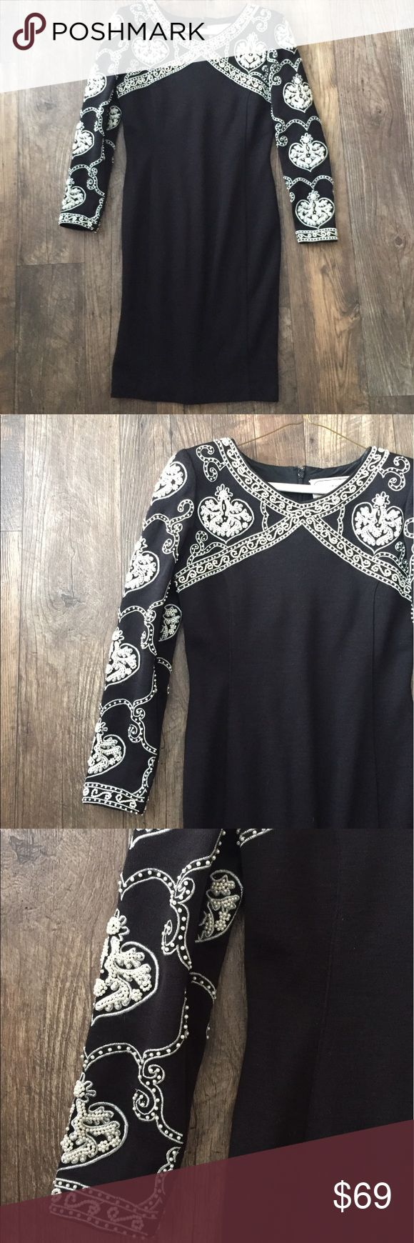 Vintage Adrienne Vittadini Beaded Petite Dress • Vintage garment is 52% wool, 48% acrylic. Lining is 100% nylon. • Fully lined. • Some loose threads, pictured. • Sewn-in shoulder pads. • Please look at pictures for an approximate for bust & length measurements. Adrienne Vittadini Dresses Long Sleeve