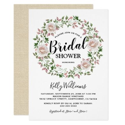 Rustic Bohemian Floral Chic Bridal Shower Card - calligraphy gifts custom personalize diy create your own
