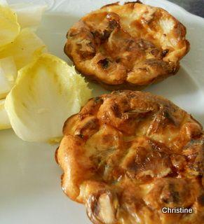Mini-quiches+sans+pâte+endives-chèvre+et+noix