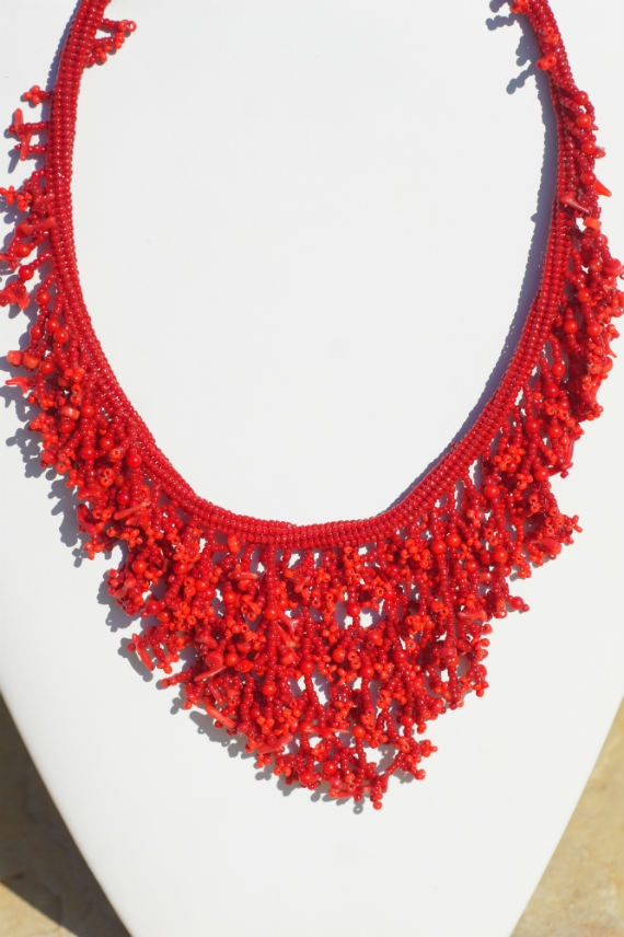 Red Necklace Beaded  Necklace  Coral Beadweaving by Trendydeals, $120.00