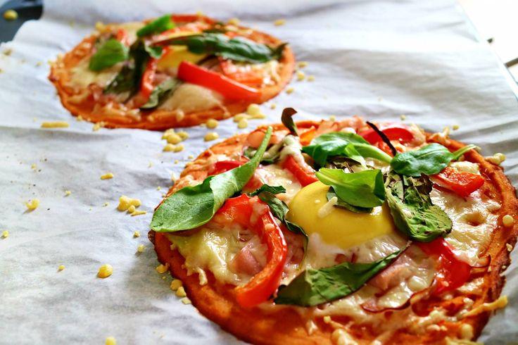 SÖTPOTATISPIZZA RECEPT; 600 g sötpotatis 3 äggvitor 1 dl rismjöl/mjöl 1 tsk bakpulver 0,5 – 1 tsk fiberhusk  Salt, peppar etc.  • Koka potatis till mjuk. Blanda torrt med äggvita och mixa med potatis & krydda. Tillaga pizza-botten i ugn i 30 min 180*. • Topping; Rökt kalkon, Paprika, Ost, Sallad, Äggula (rester), Tomatsås • Grädda i ugnen till fin färg, ca 15-20min!