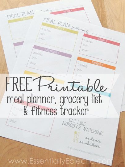 FREE Printable Meal Planner, Grocery List & Fitness Tracker   www.EssentiallyEclectic.com