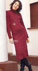 Схема вязания: Бордовое платье | Пуловеры спицами - petelka.net