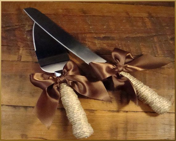 Rustic Wedding Cake Server and Knife Set WEDDING Table by ORomeo, $29.50