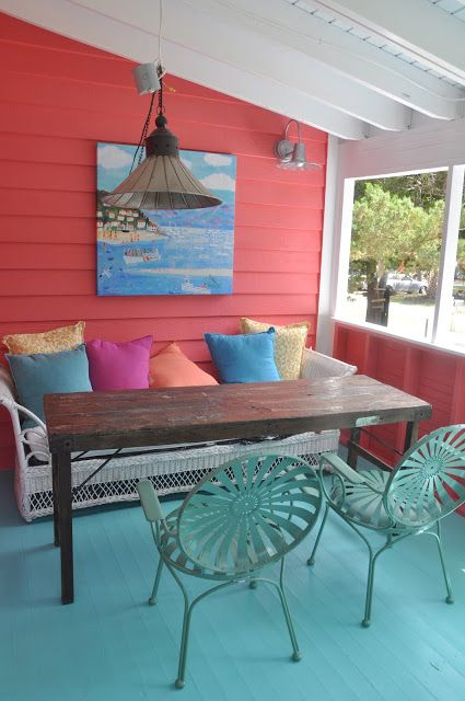 Bright outdoor colors and sitting for an outside patio ~ beach living ~ bring the beach home ~ beach babe