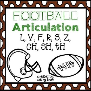 """Football Articulation! Are your students excited about the BIG GAME coming up?No Prep, all black and white - great for speech therapy activities.{24 usable pages} print and go!2 sheets for each sound (one """"Roll, Play, and Say"""" game board with 12 words, one """"Color and Say"""" with 36 words):S, S blends, Z, R, R blends, TH, CH, SH, V, F, L initial/medial/final positions  all word level*All NEW words from my popular No Prep Series!Also see:Articulation: TH Football GameSee what I'm sharing on my…"""