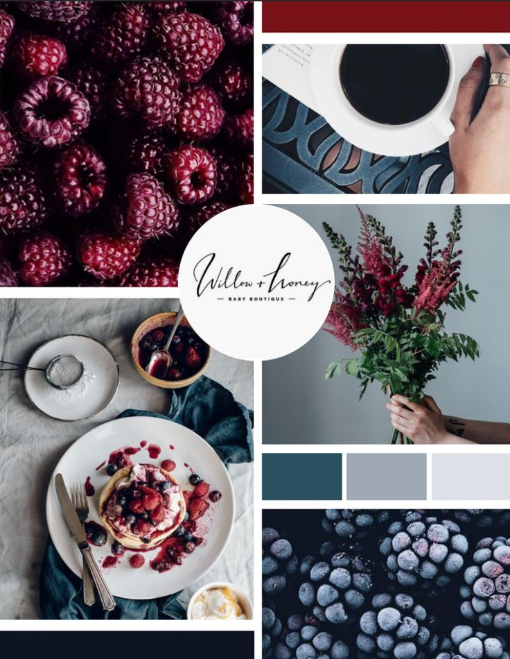 Moodboard by Infinite Reach Media. Color palette includes cool tones of navy, burgundy, and grey. The style incorporates natural and raw elements to create a unique, organic look.