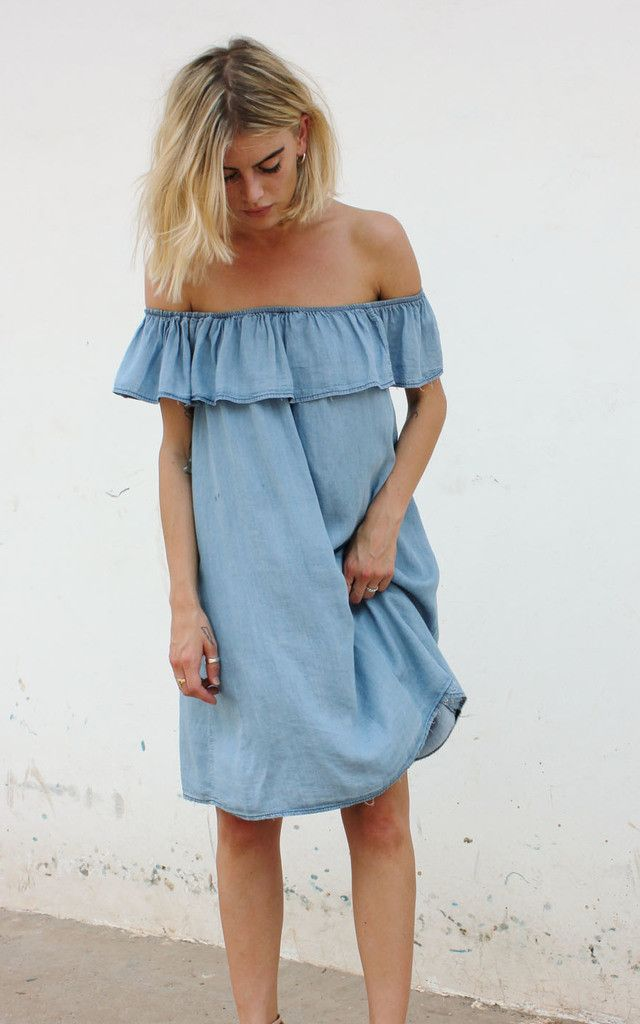 Gorgeous trapeze dress in lightweight, super soft chambray denim. Effortless and easy to wear. Sandals or heels, day or night. Shop now.