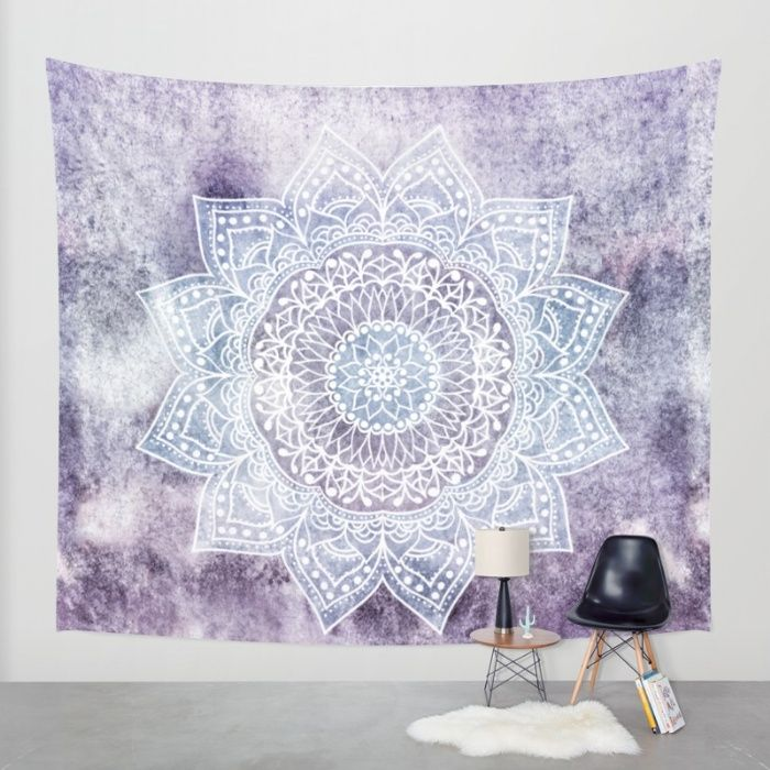 Bohemian mandala illustration in purple and blue. #mandala #illustration #wall…