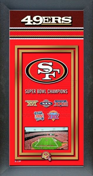This framed San Francisco 49ers poster celebrates each of their Super Bowl wins. Our San Francisco 49ers Championship banner includes the team logo, photo of their home stadium and their Super Bowl Championship years.
