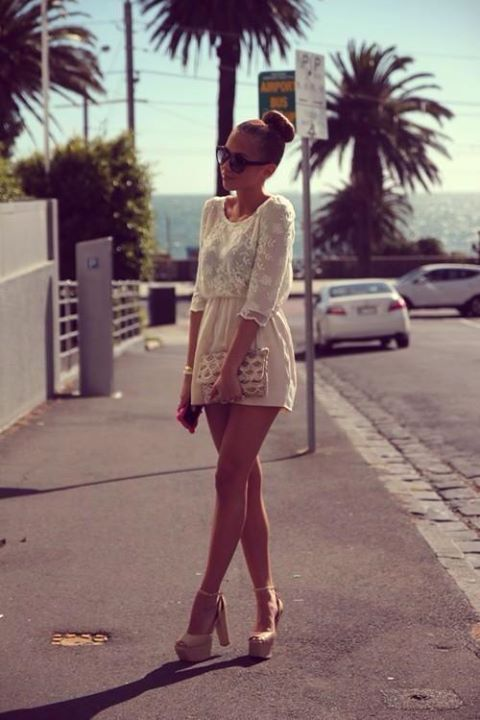 #summer #white #dress #palmtrees #sunglasses #beige #sandals