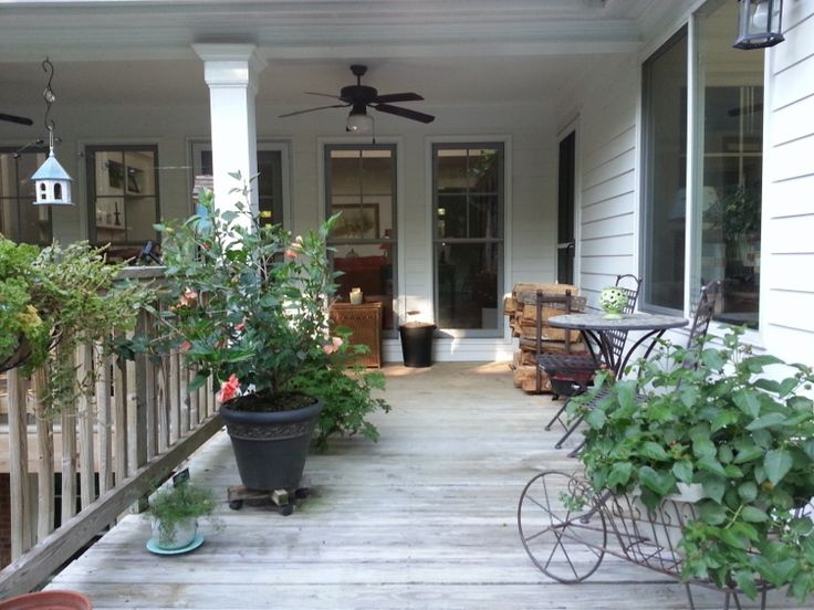 Deck and back porch looking into living room.   Outdoor ...