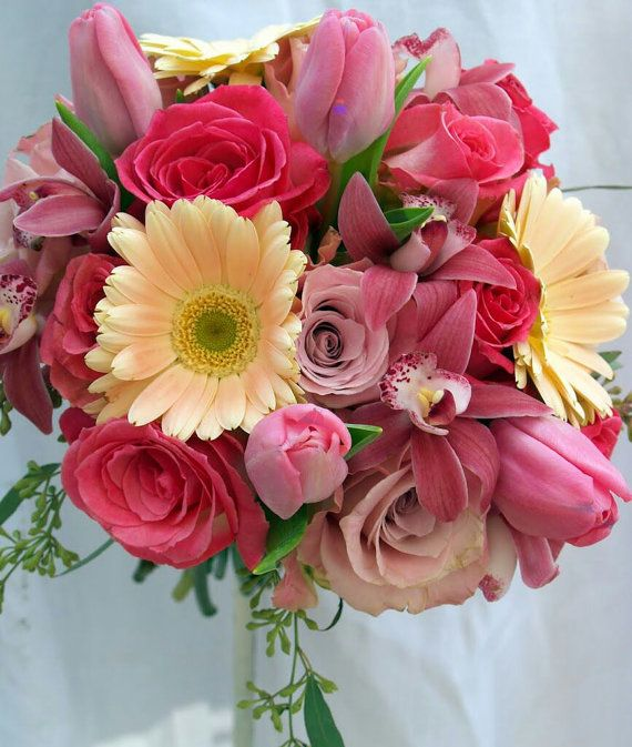 Roses Tulips Gerbera Daisy Wedding Bouquet Bridal by GreenOrchidDS, $275.00