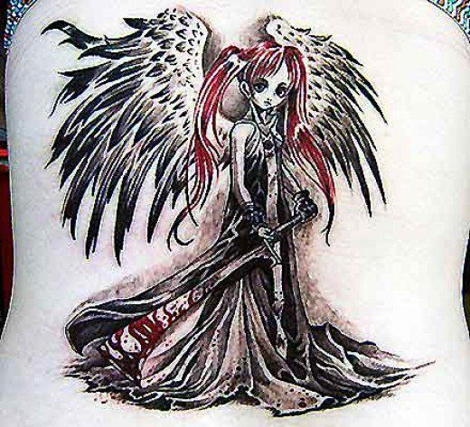 gothic angel tattoo designs the image kid has it. Black Bedroom Furniture Sets. Home Design Ideas