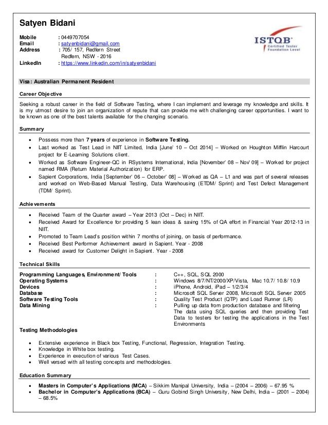 Qa Resume With Loadrunner - Performance professional Gamberger - waitress resume