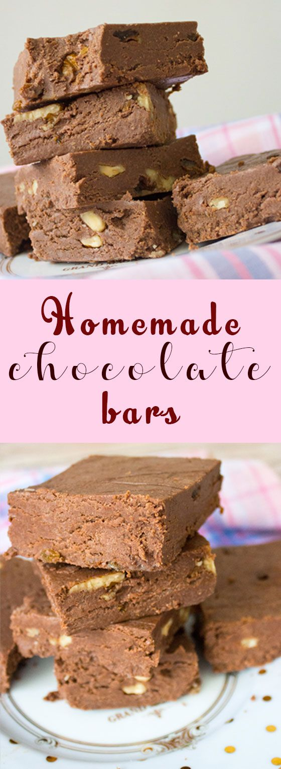 Homemade chocolate bars with powdered milk and cocoa, filled with walnuts and raisins.