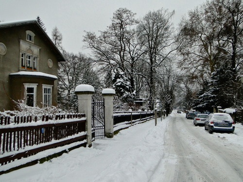 Snowy day in Radebeul, Germany