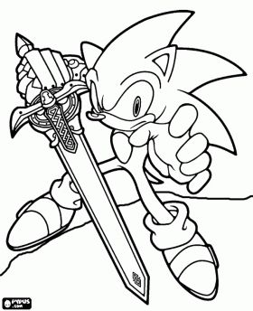 Sir Sonic, Sonic met het zwaard van een ridder kleurplaat