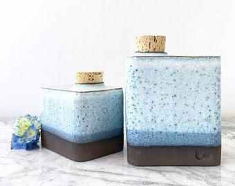 Rectangular Pet Cremation Urn with Cloudy Blue-White Glaze - Dog Urn