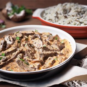 Quorn Stroganoff with Mushrooms and Meatless Beef Strips